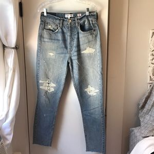 Re/Done originals high rise light wash denim